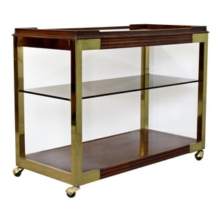 1960s Vintage Drexel Heritage Brass Wood 2-Tier Bar Cart For Sale