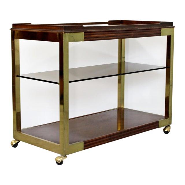 1960s Vintage Drexel Heritage Brass Wood 2-Tier Bar Cart For Sale