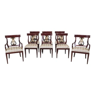 1990s Vintage Kindel Neoclassical Mahogany Dining Room Chairs- Set of 8 For Sale