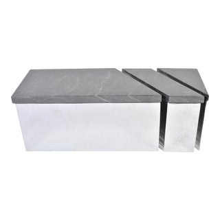 Late 20th Century Vintage Chrome and Stone Cocktail Table For Sale