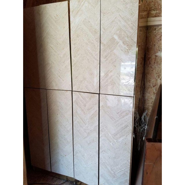 Ello Travertine Marble & Brass Bar Cabinets - A Pair - Image 5 of 10