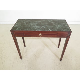 Traditional Henkel Harris Historic Salem Marble Top Mahogany Console Table Preview