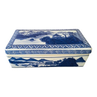 1980s Hand Painted Pottery Trinket Box For Sale
