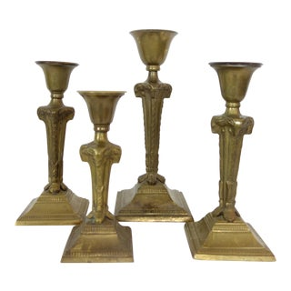 Vintage Brass Ram's Head Candlestick Holders - Set of 4