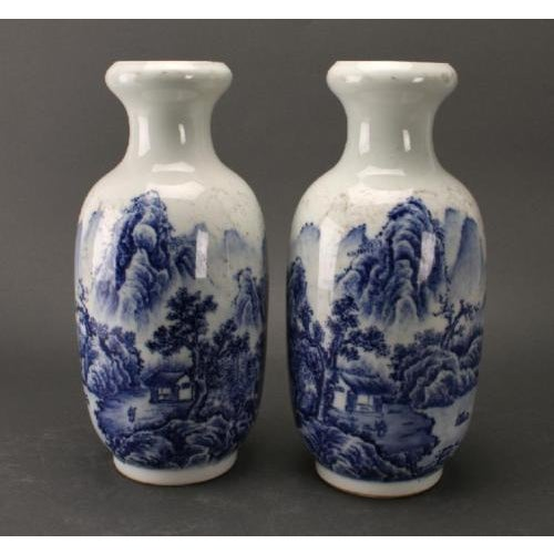 Asian Chinese Blue & White Rousseau Vases - A Pair For Sale - Image 3 of 11