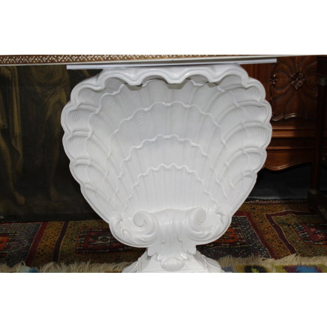 1940's Hollywood Regency White Scallop Shell Demilune Table Note: We professionally crate and ship all over the world...