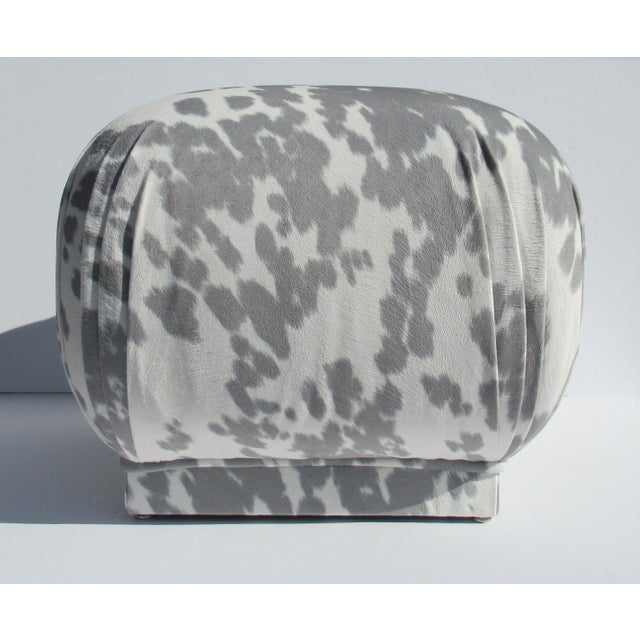 1970s Vintage C.1970s Karl Springer Souffle' Pouf Ottoman in a Nova Suede Pony Hide Spotted Textile For Sale - Image 5 of 13