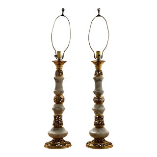 Vintage Marble and Brass Table Lamps - a Pair For Sale