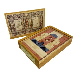 20th Century Richter's Anchor Toy Stone Building Blocks with Wooden Box For Sale