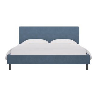 California King Tailored Platform Bed in Ocean Velvet For Sale