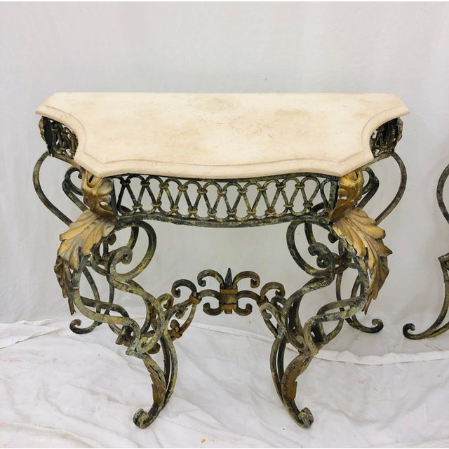 Pair Vintage Wrought Iron & Stone Side Tables For Sale In Raleigh - Image 6 of 11