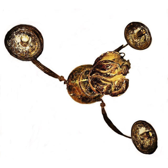 Early 18th Century 17th/18th Century Antique Hand Carved and Painted, Removable Arm Chandelier For Sale - Image 5 of 6