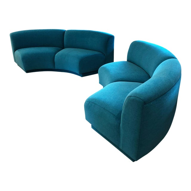 Vintage Turquoise Semi Circle Sofa - Image 1 of 9