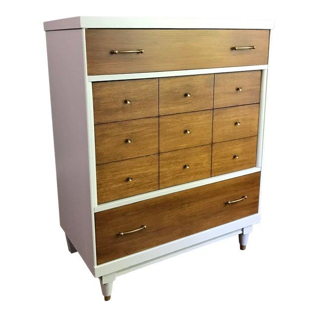 Two-Tone Mid-Century Modern Highboy Dresser For Sale