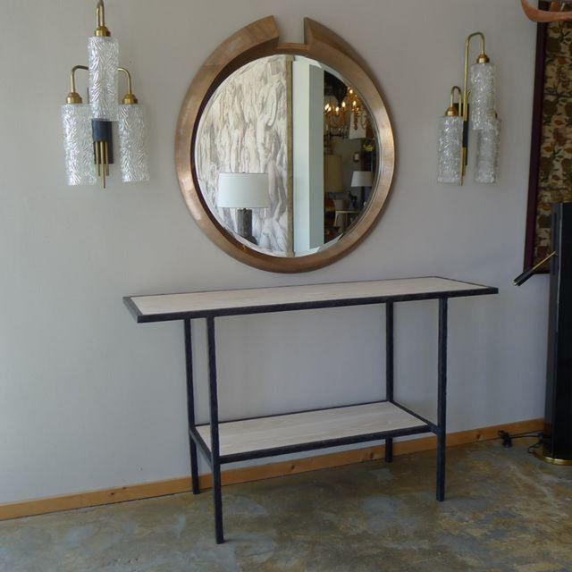 20th Century Contemporary Bleached Oak Wood Console For Sale - Image 4 of 8