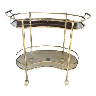 1950s Vintage Brass Kidney Shaped Bar Cart For Sale