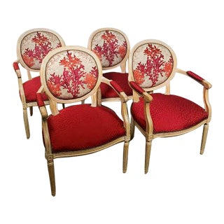 Italian Provincial Arm Dining Chairs - Set of 4 For Sale
