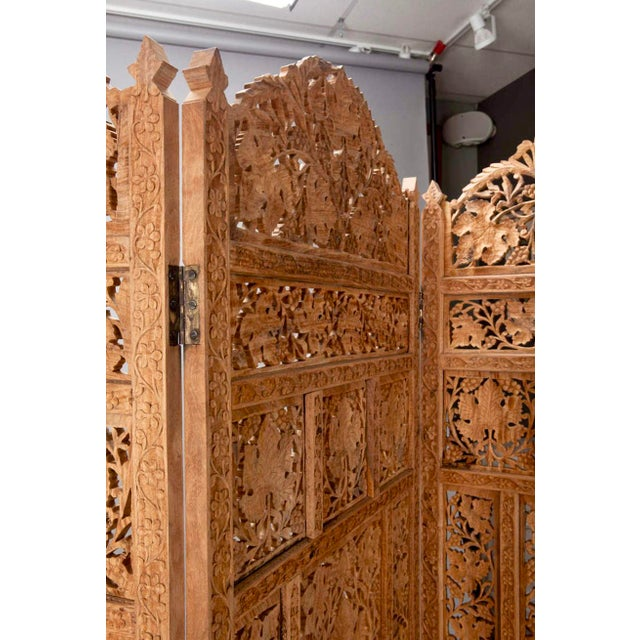 19th Century Anglo-Indian Elaborately Carved Four Panel Screen For Sale In Detroit - Image 6 of 7