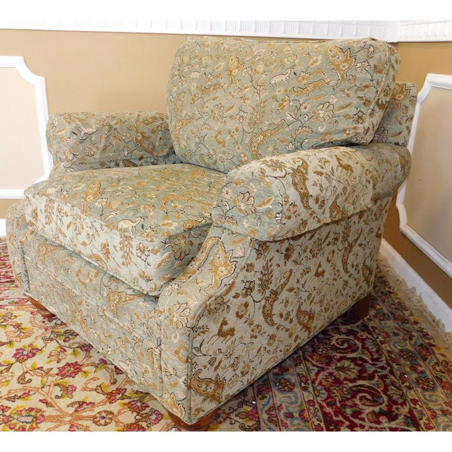 Ethan Allen Upholstered Armchair & Ottoman - Image 7 of 8
