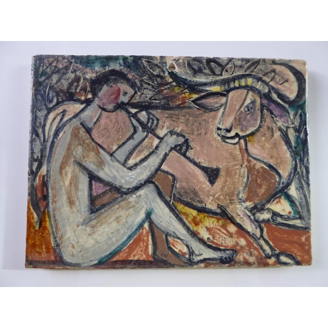 1950s Swiss Modern Pottery Wall Plaques by Philippe Lambercy - Set of 3 For Sale - Image 9 of 13