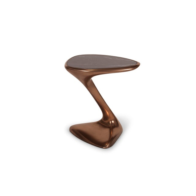 Art Deco Palm Side Table in Bronze Finish With Black Marble Top For Sale - Image 3 of 9