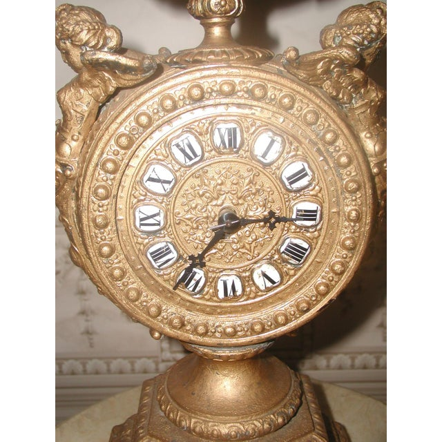 French 1890-1900 Mayer 8 Day Cherub Gilt Clock For Sale - Image 3 of 9
