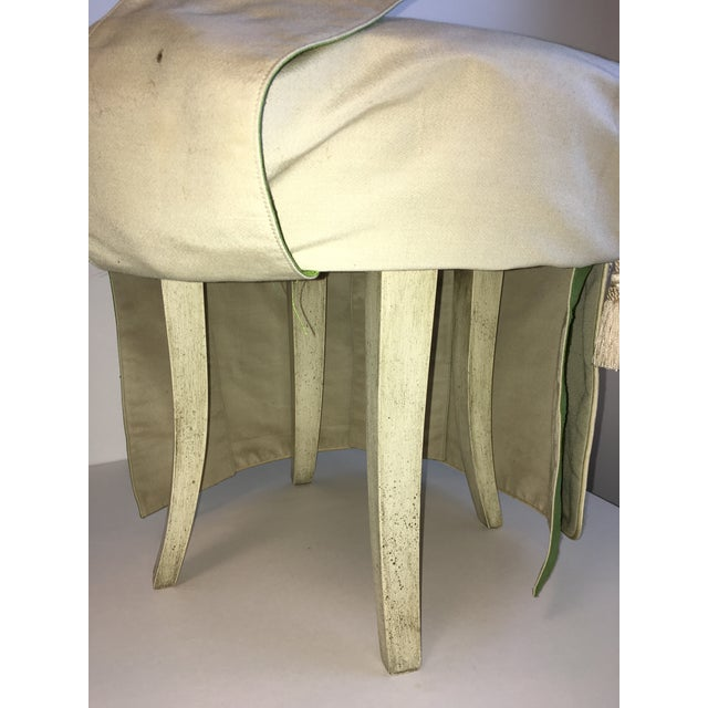 Silk Hollywood Regency Green Silk Footstool For Sale - Image 7 of 8