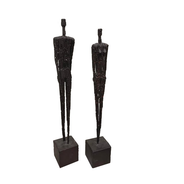 Early 21st Century Contemporary Metal Figures of Man and Woman - a Pair For Sale - Image 5 of 5