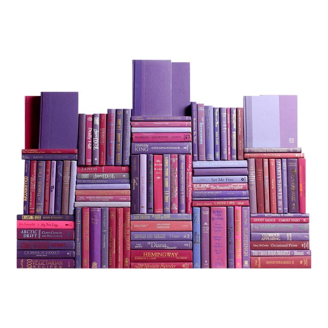 Modern Berry Book Wall : Set of One Hundred Decorative Books in Shades of Purple For Sale