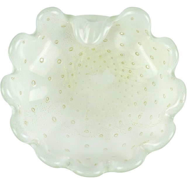 Mid 20th Century Barbini Salviati Murano White Gold Flecks Italian Art Glass Ring Dish Bowl For Sale - Image 5 of 5