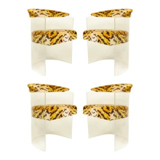 1960s Round Back Lucite Frame Arm Chairs- Set of 4 For Sale