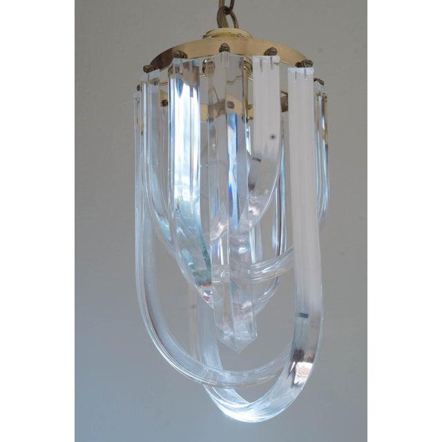 Vintage Glam Regency Lucite Ribbon Chandelier Light - Image 6 of 6