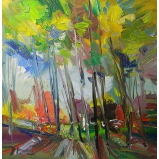 Jose Trujillo Treeline Impressionism Landscape Signed Oil Painting For Sale
