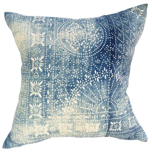 Bleached-Out Indigo Batik Pillow - Image 1 of 10