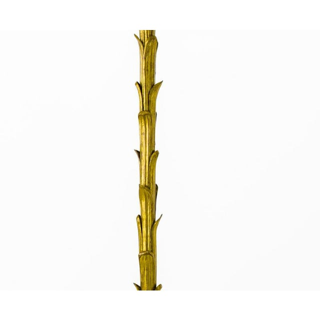 Maison Baguès Maison Bagues Gold Leaf Wrought Iron Palm Tree Spectacular Floor Lamp For Sale - Image 4 of 6
