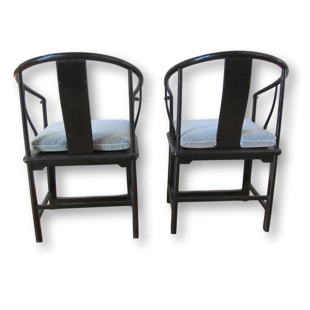 Large Antique Chinese Horse Shoe Back Chairs - 2 For Sale - Image 4 of 10