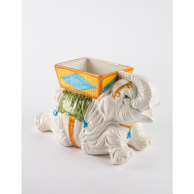 Hand Painted Italian Elephant Planter For Sale - Image 9 of 9