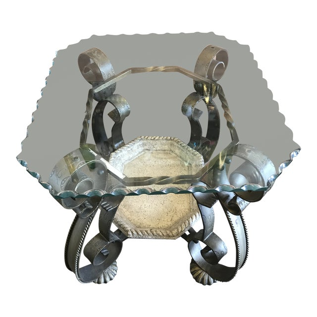 Wavy Edge Glass Side Table For Sale