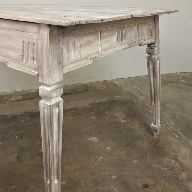 19th Century Country French Louis XVI Whitewashed End Table - Writing Table For Sale - Image 4 of 13