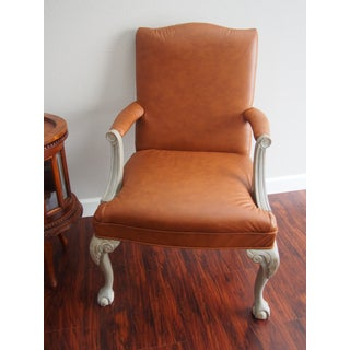 Italian Leather Armchairs with Shabby Chic Frame - A Pair Preview