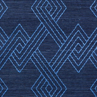 Sample - Schumacher Hix Embroidered Sisal Wallpaper in Blue Preview