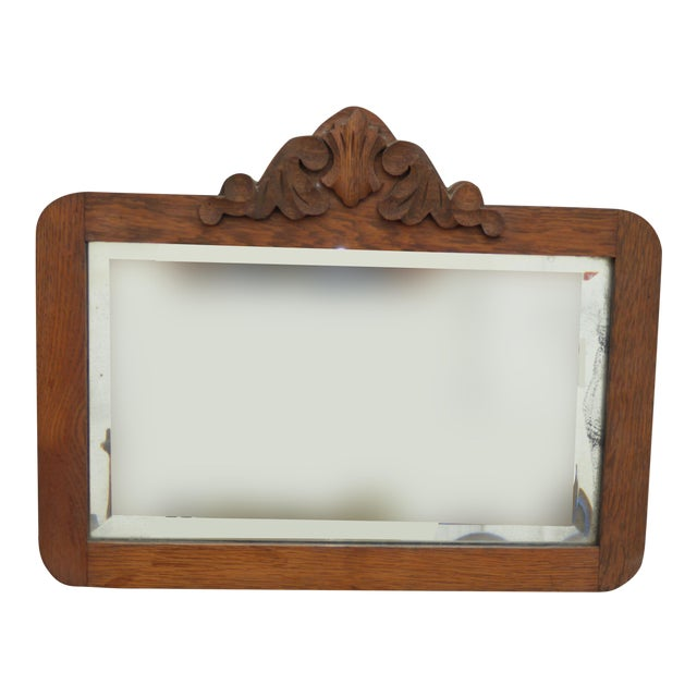 Antique Mid-Century Modern Federal Rustic Beveled Edge W Aged Silver Wall Mirror For Sale