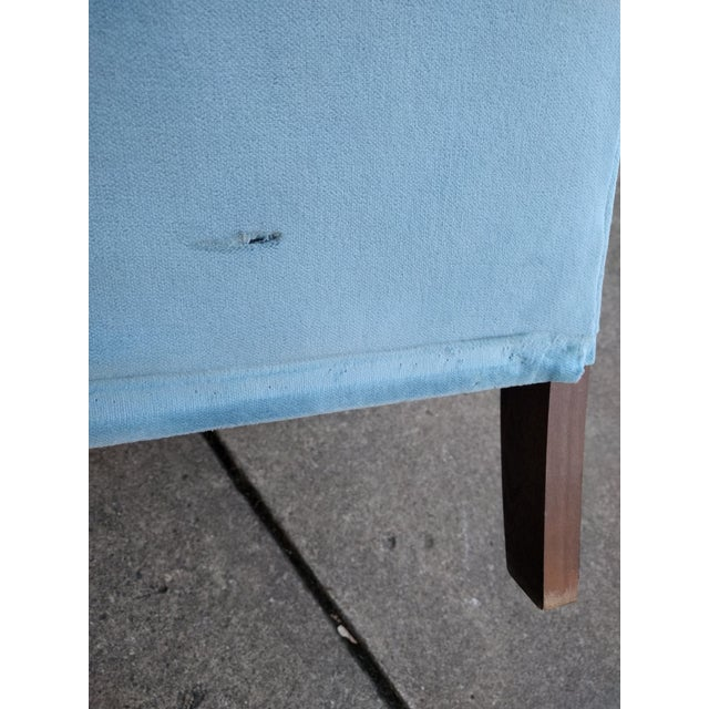 Vintage Blue Velvet Rolled Arm Club Chairs by Sam Moore Furniture - A Pair - Image 10 of 11
