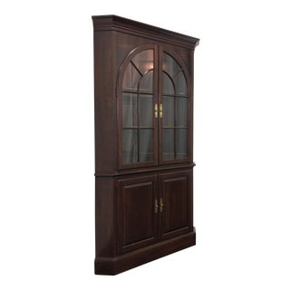 Ethan Allen Georgian Court Solid Cherry Corner Cupboard Cabinet For Sale