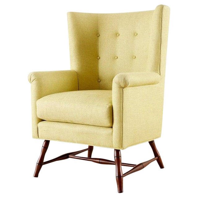 Westcott Citron Linen Wing Chair by Bunny Williams For Sale