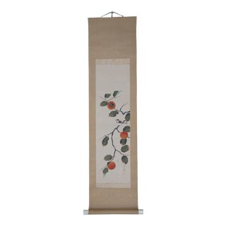 Mid 20th Century Hand Painted Chinese Botanical Silk Scroll For Sale