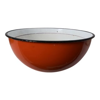 Vintage Orange Enamelware Bowl For Sale