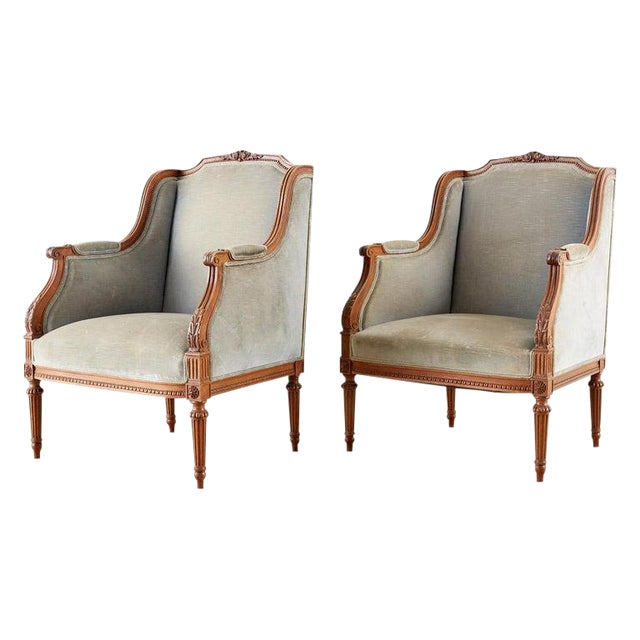 Pair of French Louis XVI Style Walnut Bergère a Oreilles For Sale