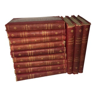 1903 John Stoddard Leather Spine Lecture Books - Set of 12 For Sale