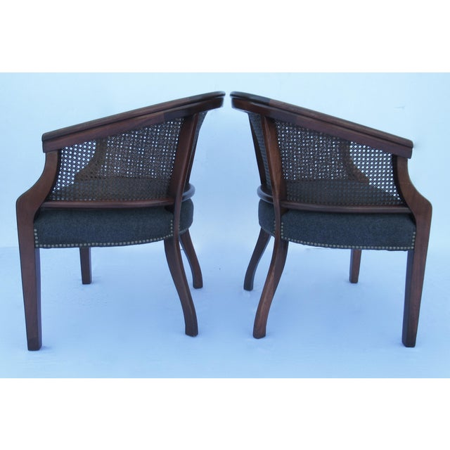 Vintage C.1968 Mahogany Barrel Back & Caned Arm Chairs With Brass Nail Heads - a Pair For Sale - Image 9 of 13